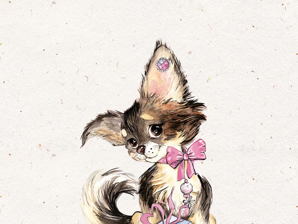 森系手绘小动物黑猫儿童房装饰画