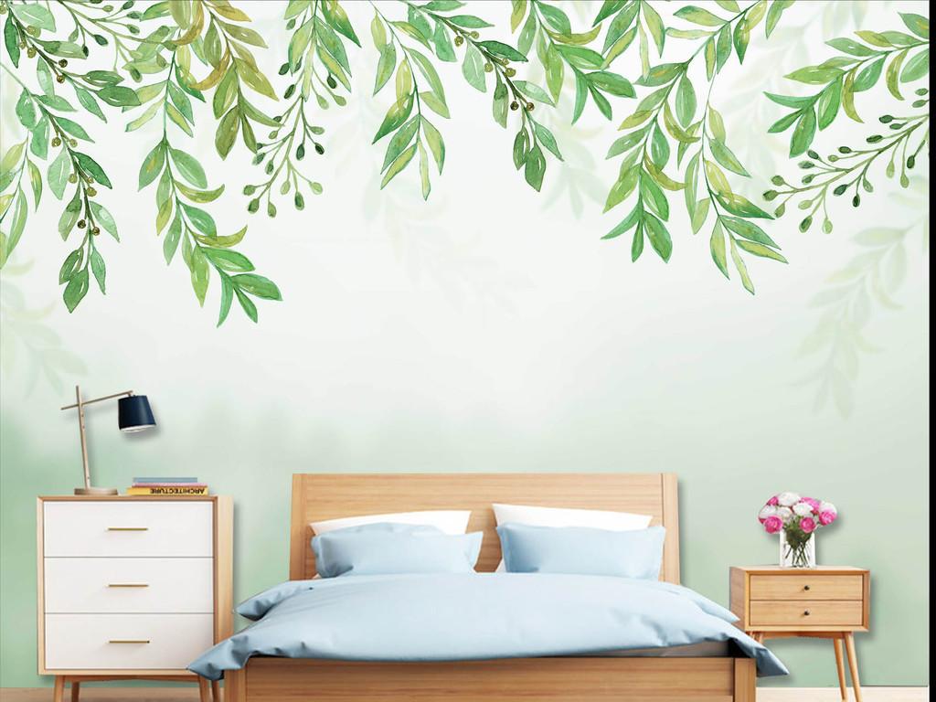 手绘北欧唯美清新绿叶背景墙
