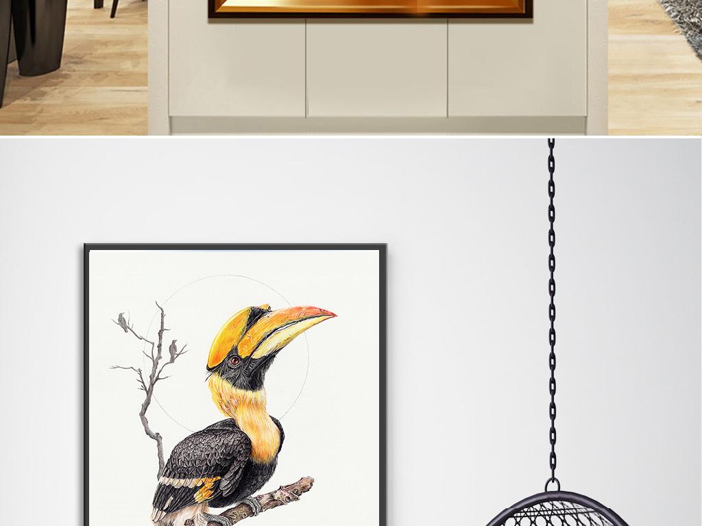北欧简约手绘彩色鸟无框装饰画