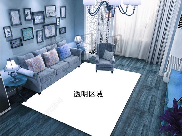 欧式客厅地毯地板场景样机