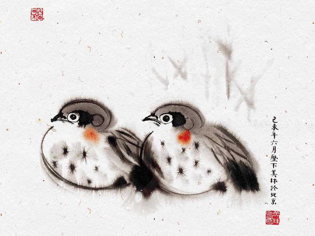 现代简约新中式手绘水墨小动物鸳鸯鸟