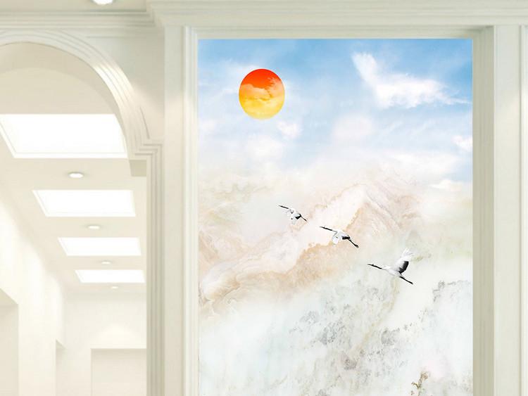 玄关大理石纹高山流水背景墙