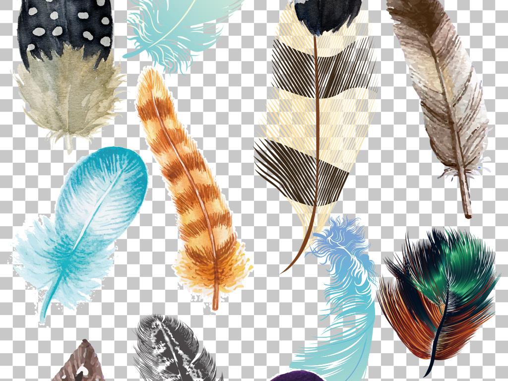 彩色羽毛彩色手绘羽毛免抠png素材