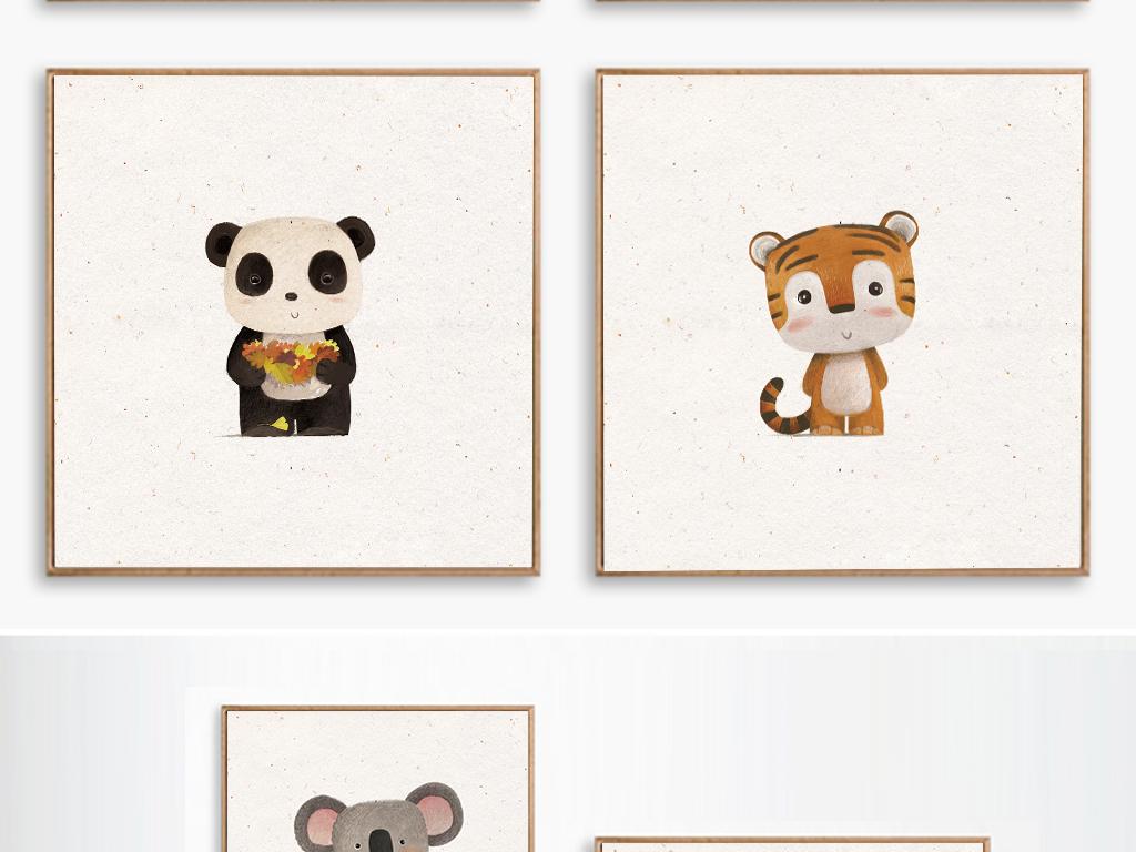 现代简约8款森系手绘小动物装饰画