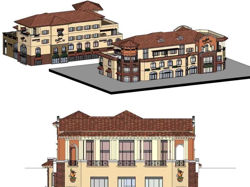 模型库 su模型 建筑模型 > 欧式商业街su模型 cad图纸 效果图  版权