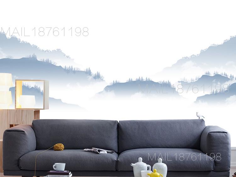 2018新中式现代简约山水风淡蓝色背景墙