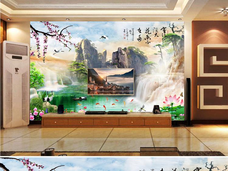 中式高清大理石纹电视沙发卧室山水画背景墙