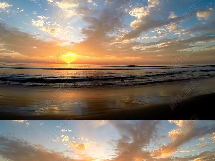 唯美海上日出海岸风光层层浪花空镜头视频