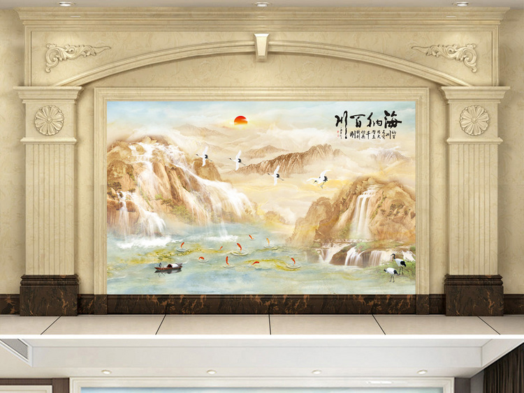 中式大理石纹山水画海纳百川电视沙发背景墙
