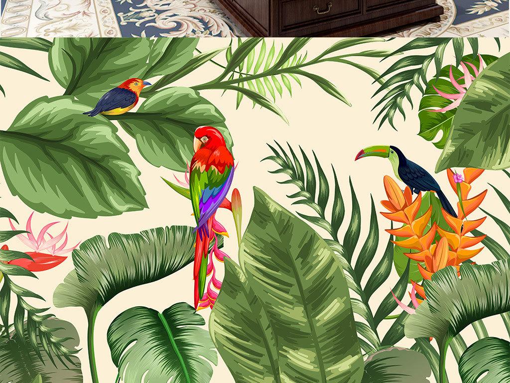 手绘美式复古热带植物鹦鹉背景墙壁画芭蕉