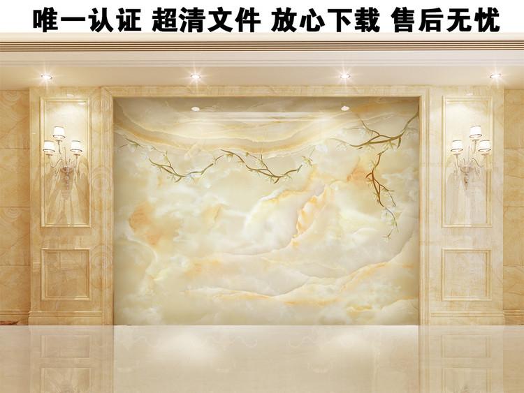高清3D大理石纹山水花日出背景墙石兰媚