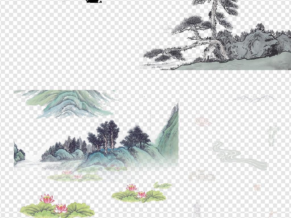 中国风古风古典水墨山水白鹤背景png素材