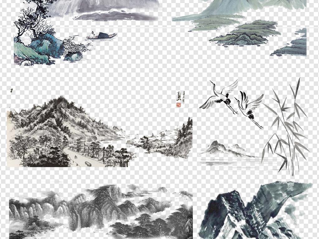 中国风古风古典水墨山水山脉透明背景素材图片下载png素材 中国风素图片