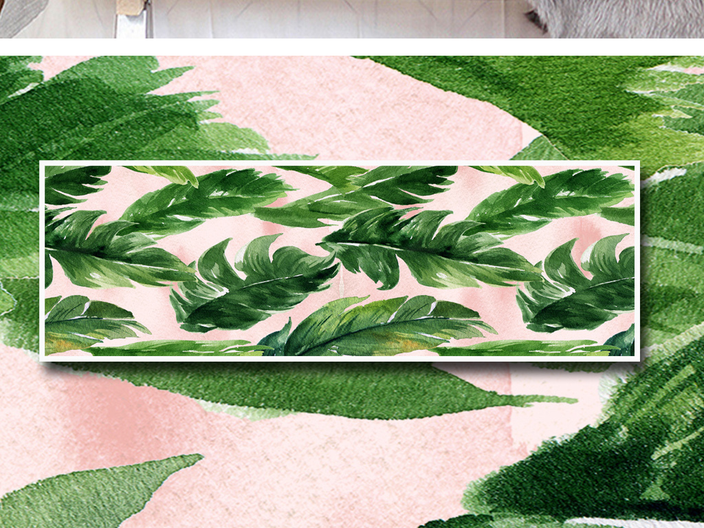芭蕉叶龟背竹艺术手绘北欧简约无框画