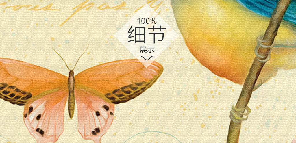 欧式工笔手绘花鸟蝴蝶花瓶插花三联装饰画