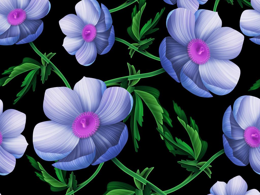 高清手绘植物大花无缝数码植物花草
