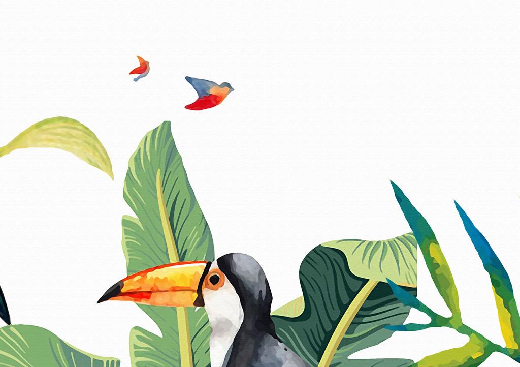 热带雨林火烈鸟背景墙