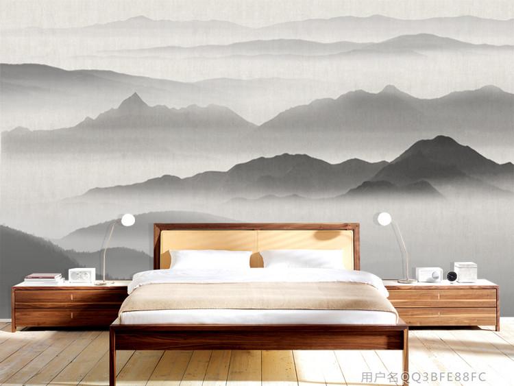 新中式意境水墨山水背景墙