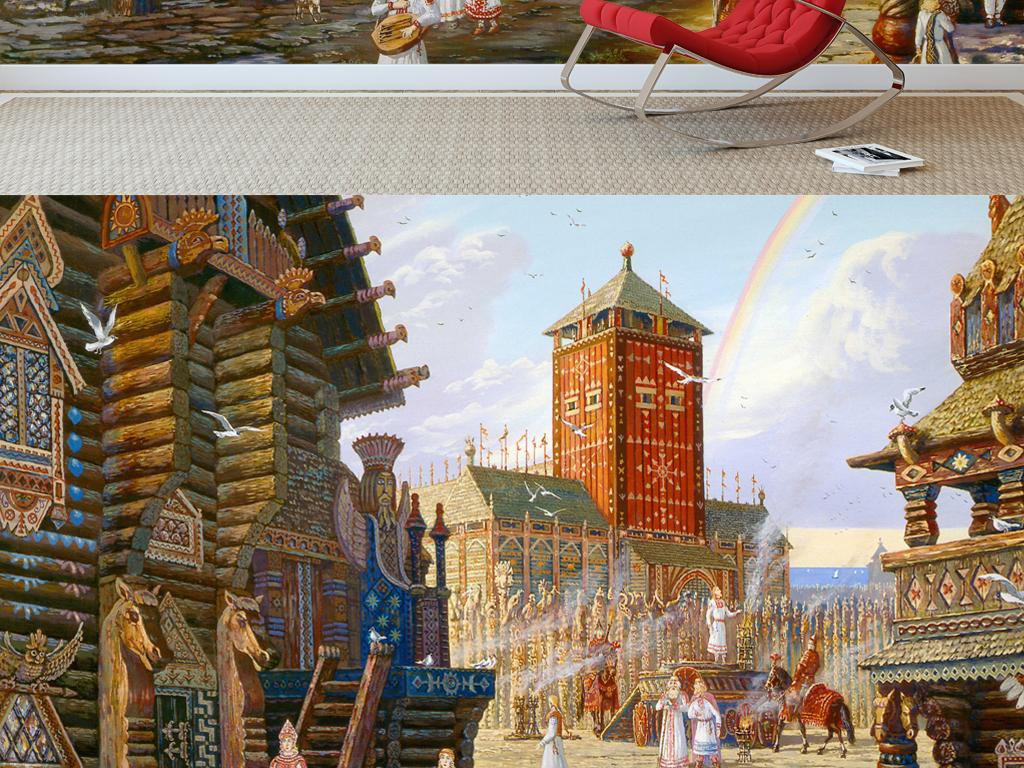 欧式古典手绘城堡唯美风景电视背景墙装饰画