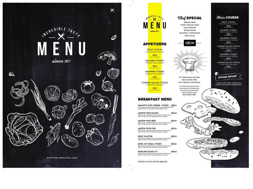 a4创意手绘餐厅菜单设计模板