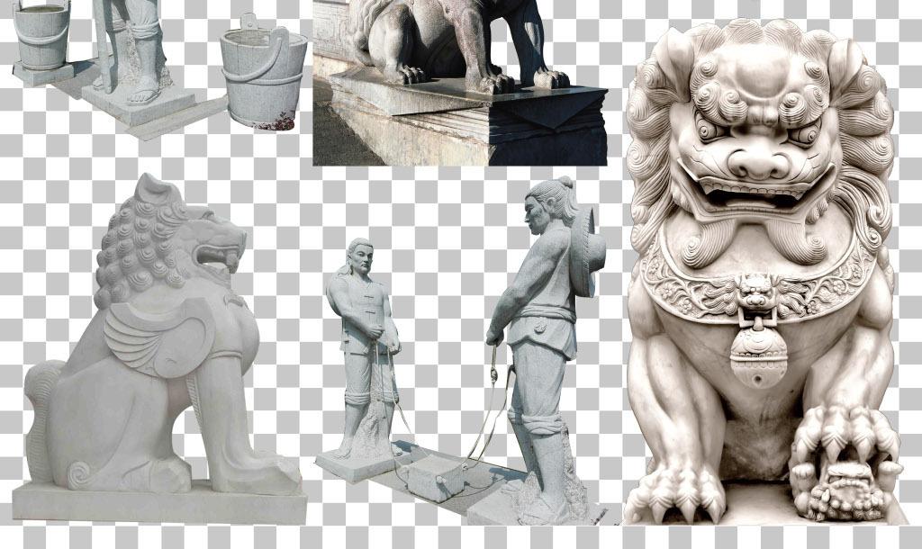 传统石雕工艺石狮子石像免抠png素材图片