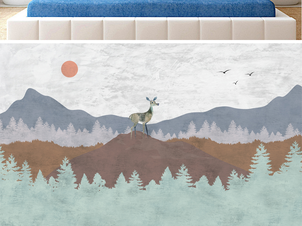 北欧风梅花鹿背景图(图片编号:17310049)_手绘电视墙