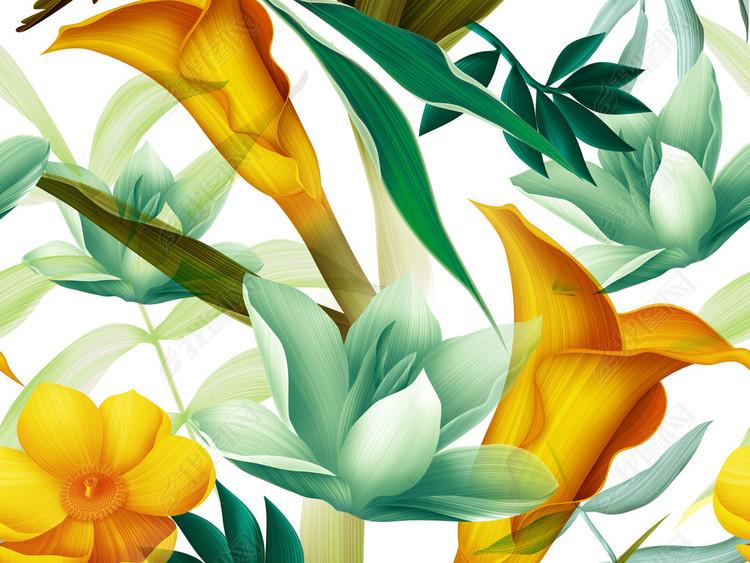手绘高清植物花朵无缝数码印花