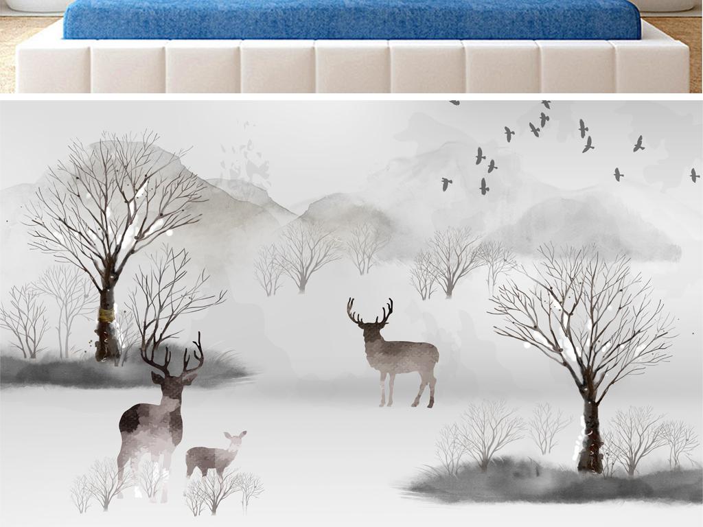 北欧森林麋鹿手绘森林背景墙图片设计素材_高清psd(99