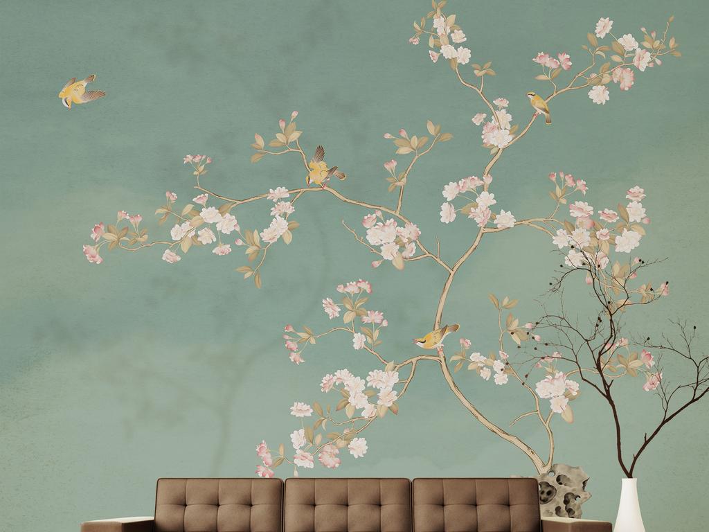 新中式手绘海棠花黄鹂背景墙装饰画
