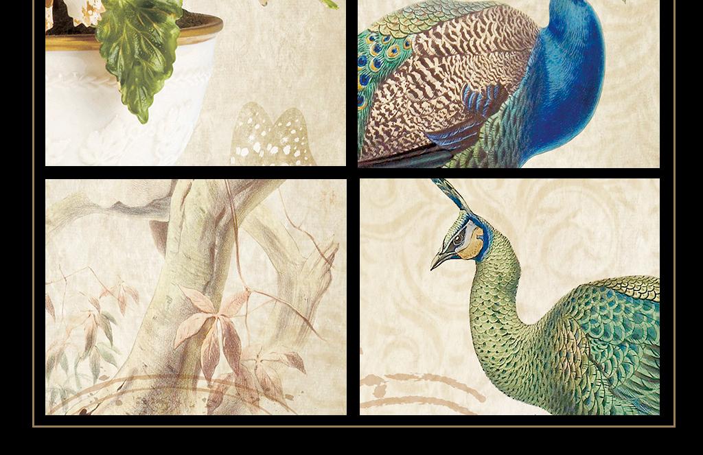 欧式复古简约手绘孔雀花瓶花卉装饰画三联画