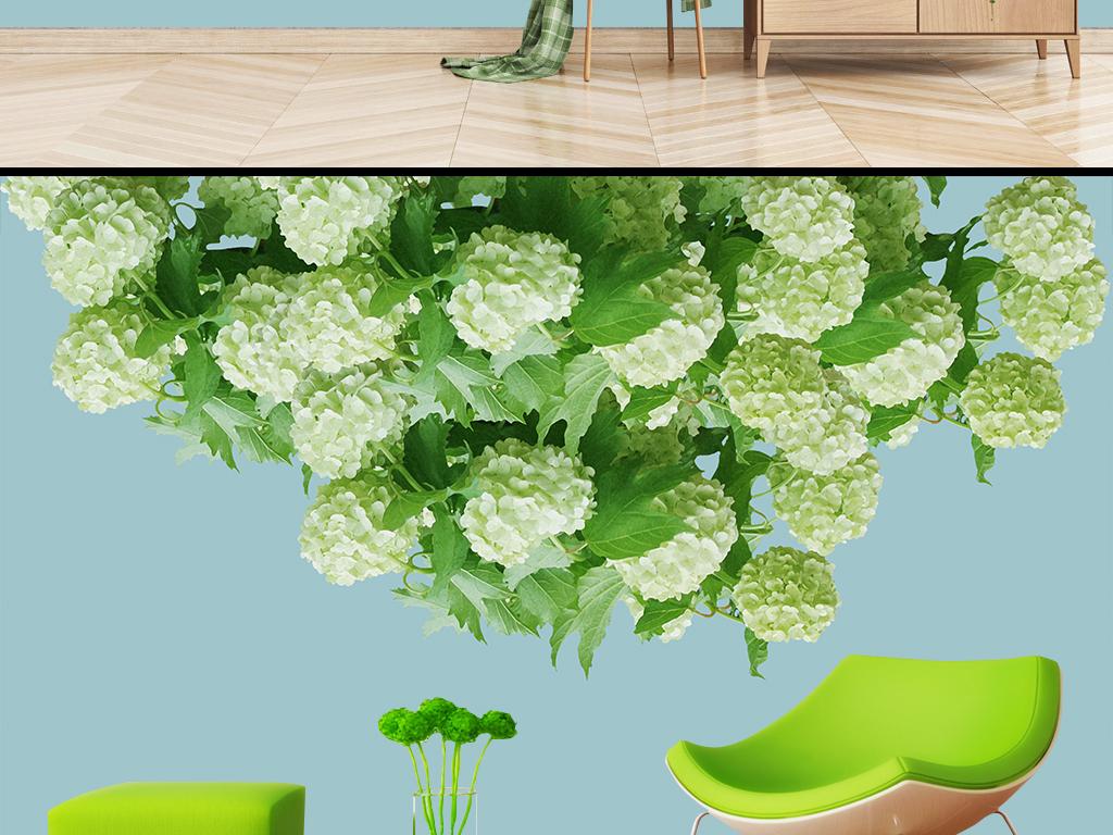 清新绣球花客厅沙发背景墙绿植壁画