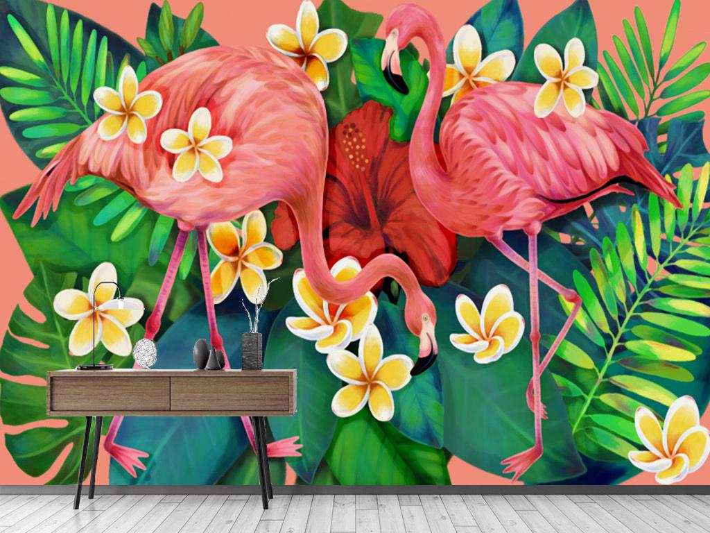 电视背景墙 手绘电视背景墙 > 北欧抽象雨林火烈鸟芭蕉叶背景墙