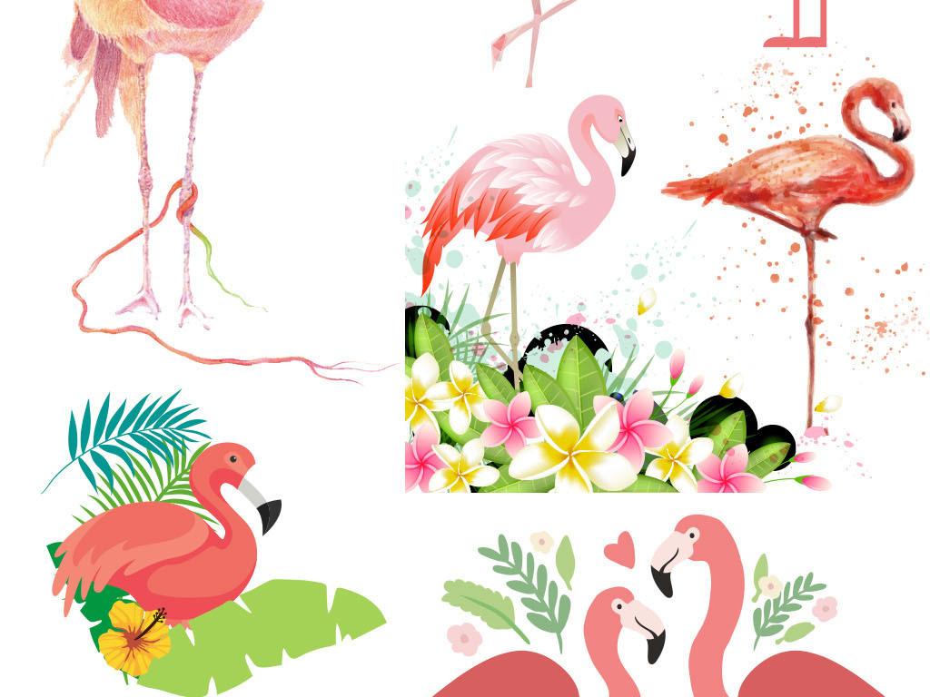 免抠元素 自然素材 动物 > 手绘森系火烈鸟背景墙壁纸壁画矢量素材