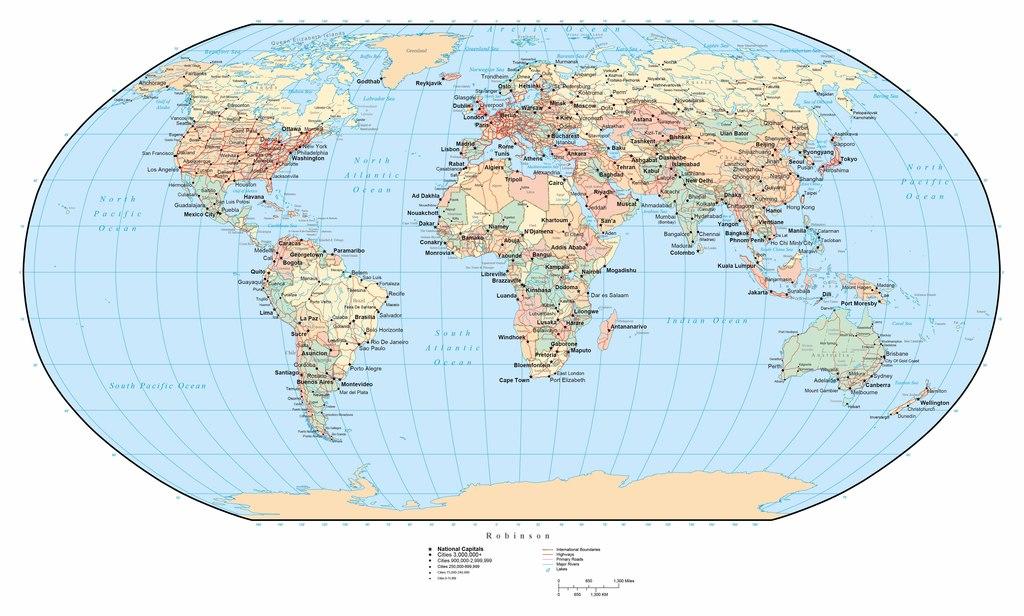 世界地图英文高清大图
