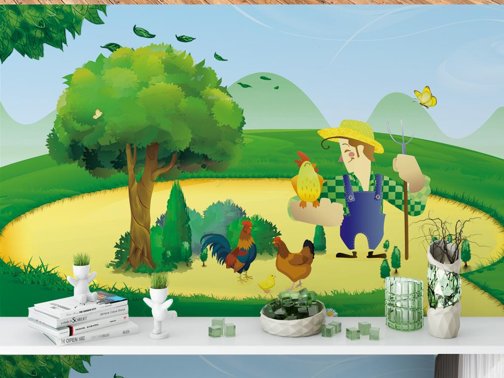卡通农场幼儿园儿童房背景墙