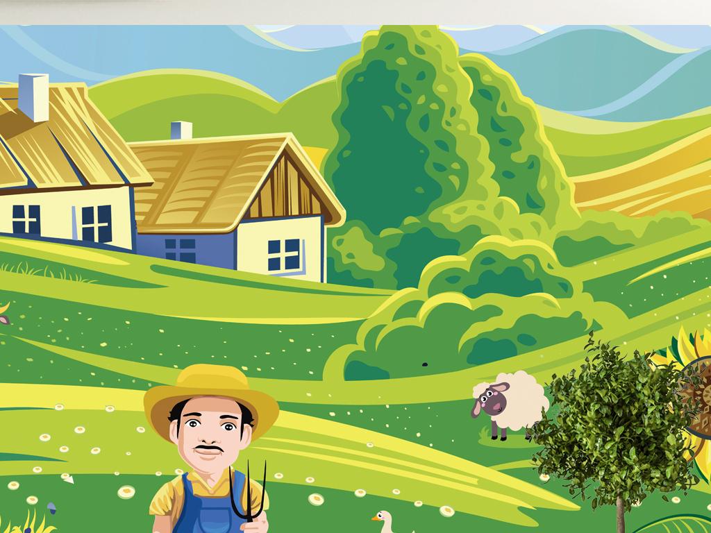 卡通插画农场儿童房背景墙设计