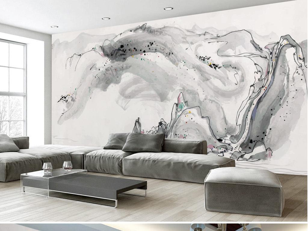 电视背景墙 中式电视背景墙 > 手绘吴冠中水墨画抽象山水背景墙装饰画