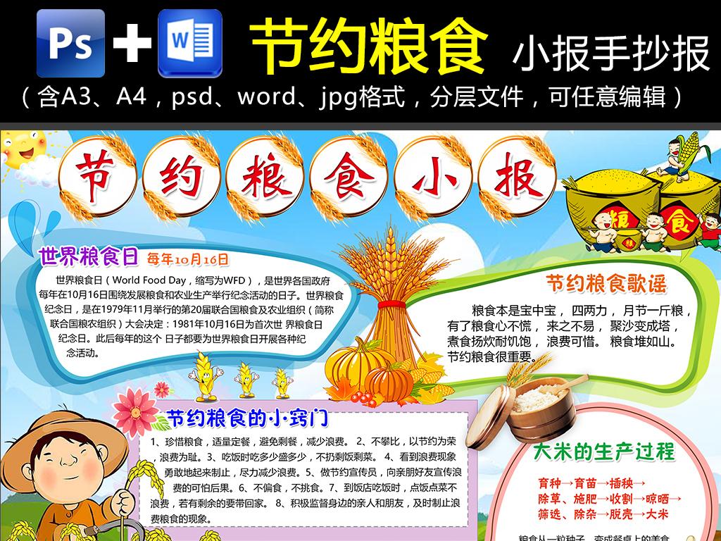 word/ps节约粮食珍惜粮食小报手抄报拒绝浪费电子小报
