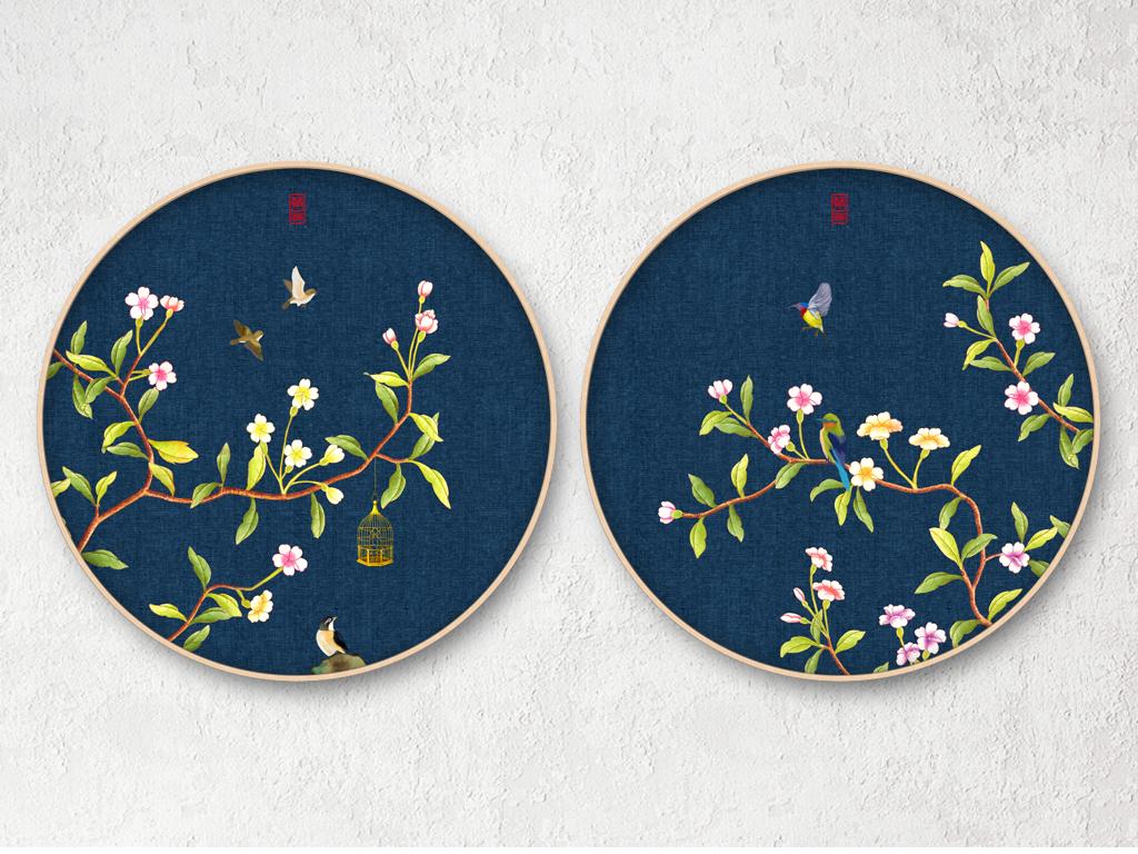 新中式圆形工笔花鸟装饰画无框画