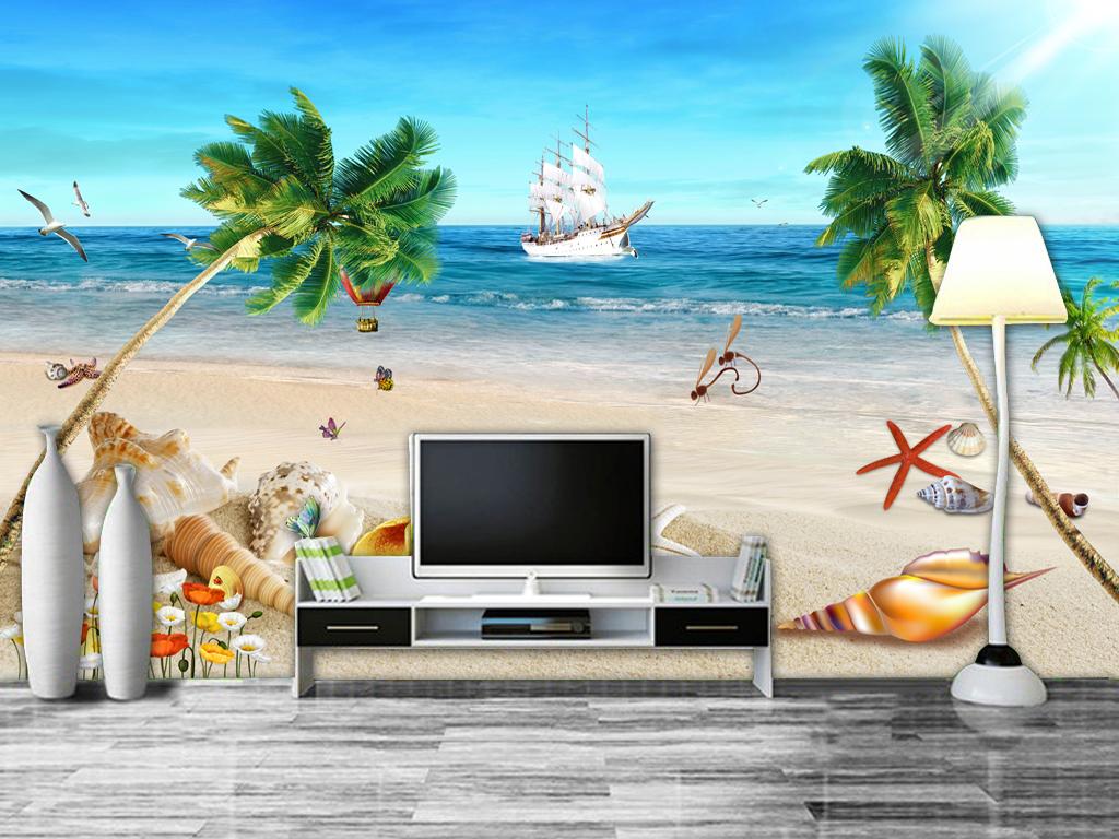 清新海景海滩贝壳沙滩地中海风格背景墙图片设计素材图片