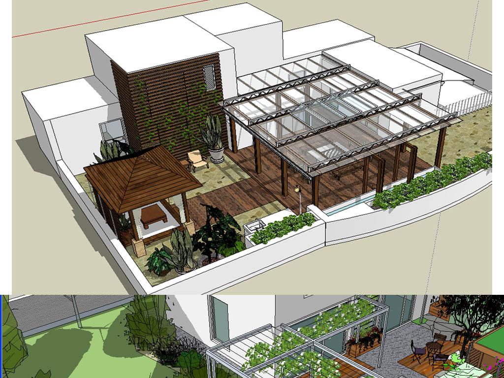 园林别墅庭院模型设计图下载(图片691.85mb)_其他模型图片