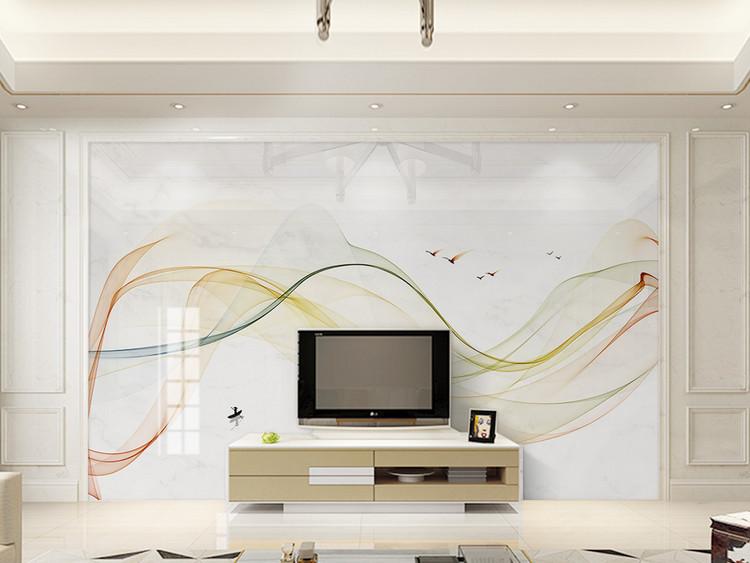 新中式抽象意境大理石线条山水背景墙壁画