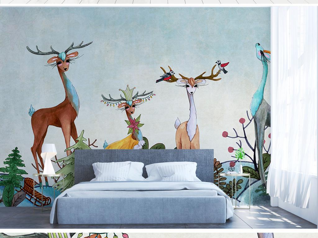 北欧简约手绘动物小鹿森林背景墙
