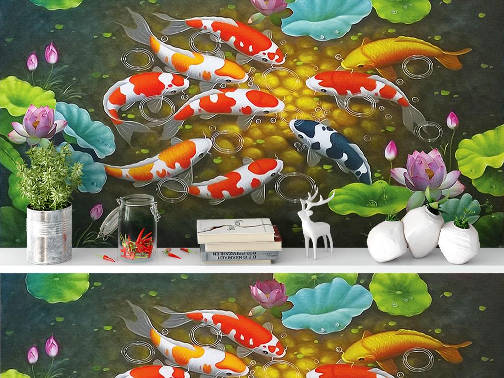 背景墙|装饰画 电视背景墙 油画|立体油画电视背景墙 > 富贵有余九鱼