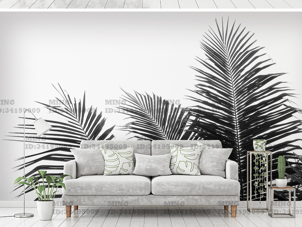 黑白简约热带植物背景墙