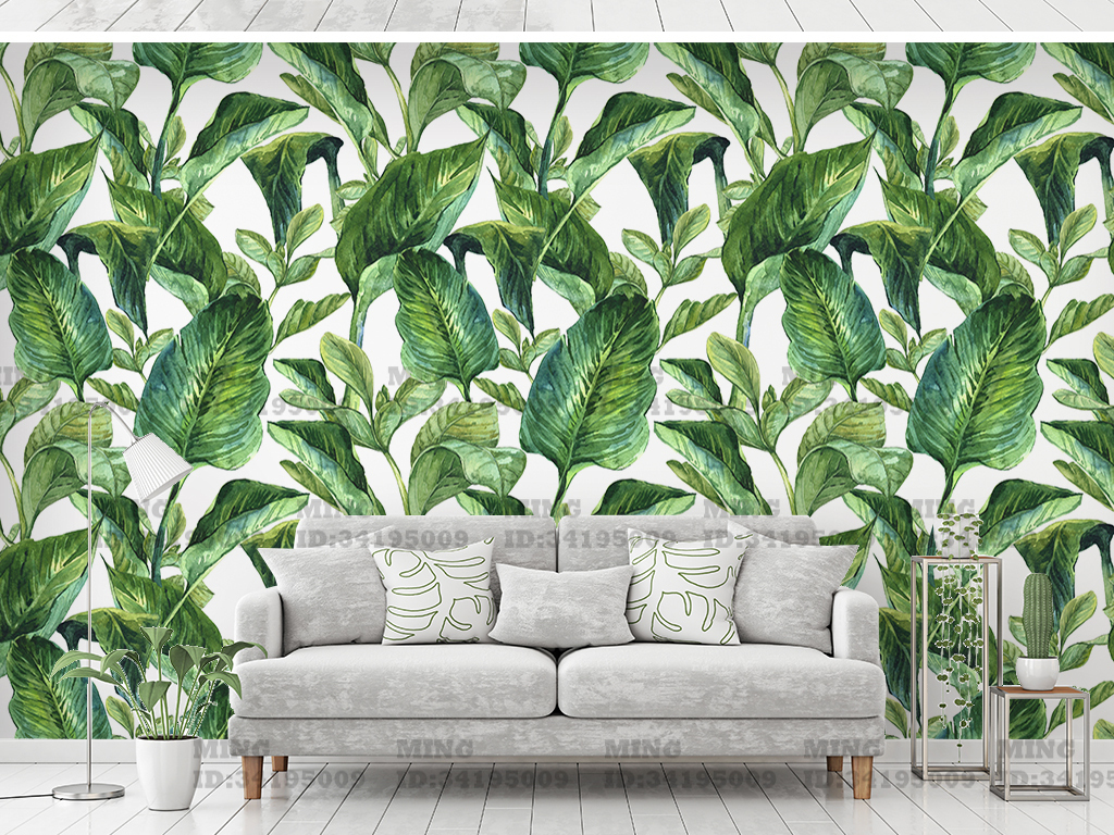 热带植物北欧背景墙