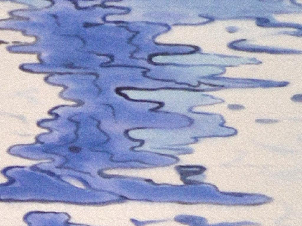 手绘蓝色水面波纹艺术玄关装饰画