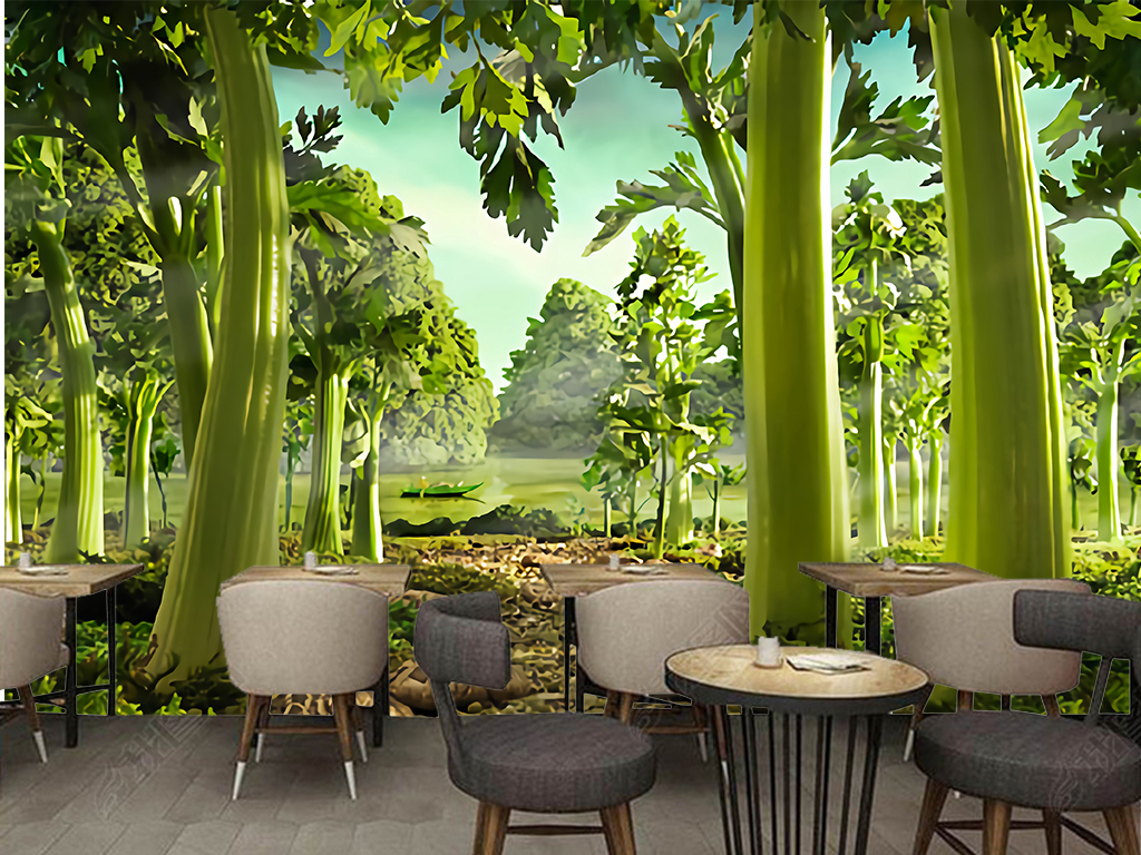 手绘芹菜绿色森林餐厅超市水果店工装背景墙