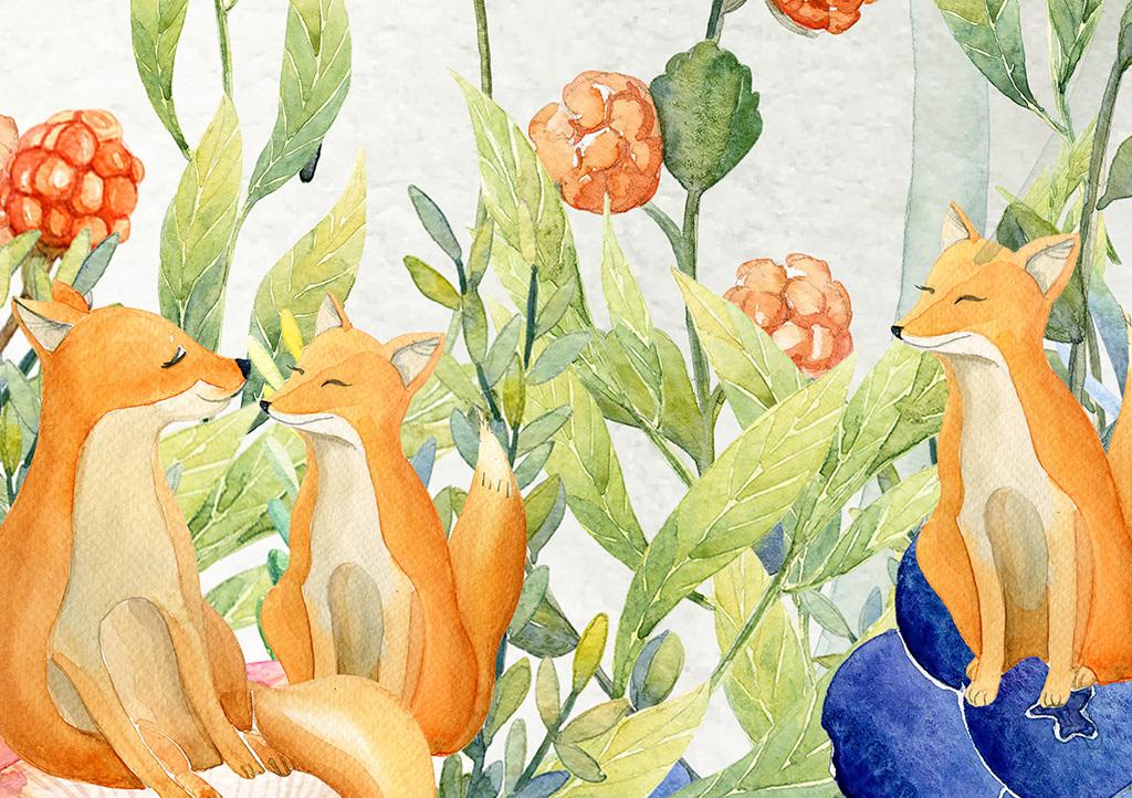 北欧简约手绘花卉狐狸动物儿童房屋背景墙
