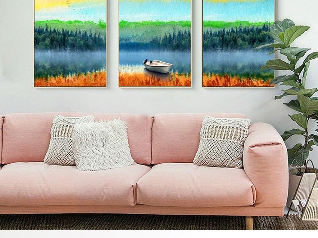 现代水彩手绘大自然小船风景床头客厅装饰画